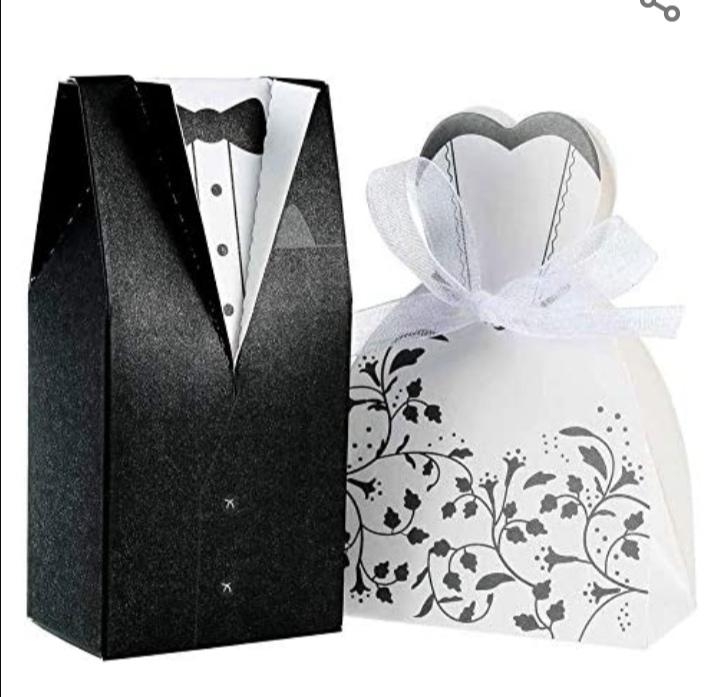 100pcs boîte à dragées pour mariage, 50 pcs noir Jeune marié