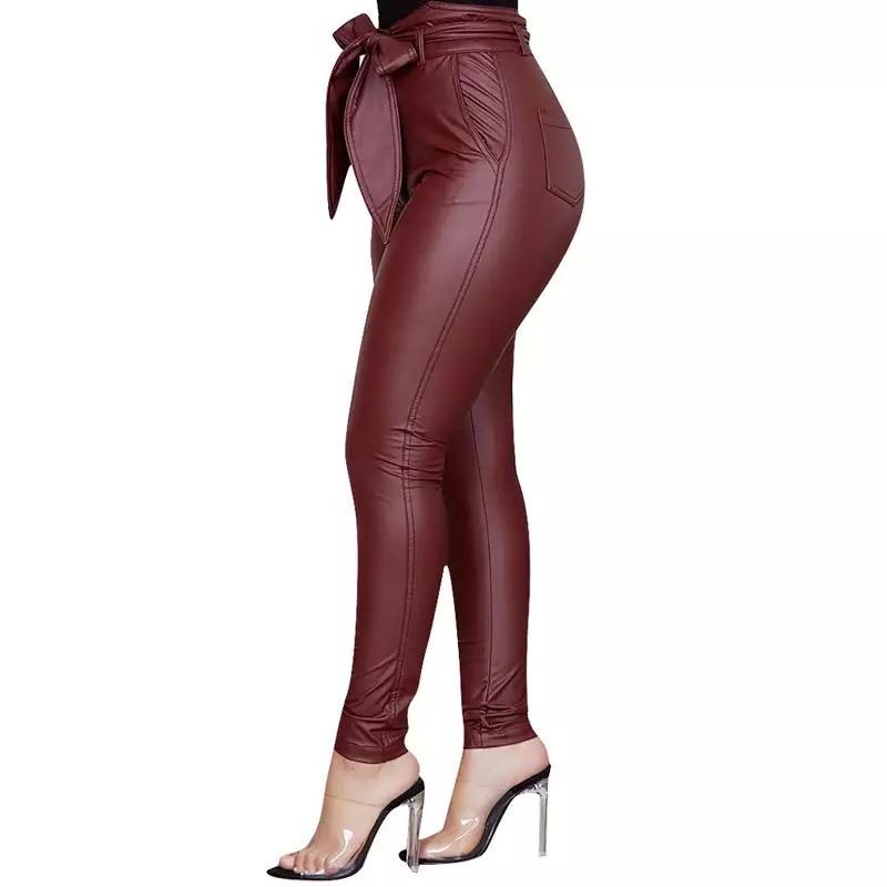 Legging rouge femme sexy en cuir PU