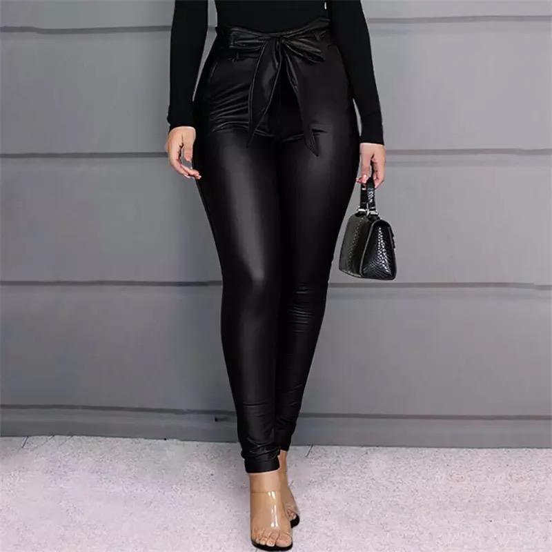 Legging noir femme sexy en cuir PU