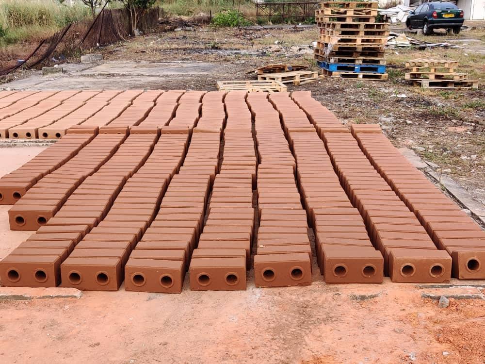 Briques de terre compressées stabilisées autobloquant