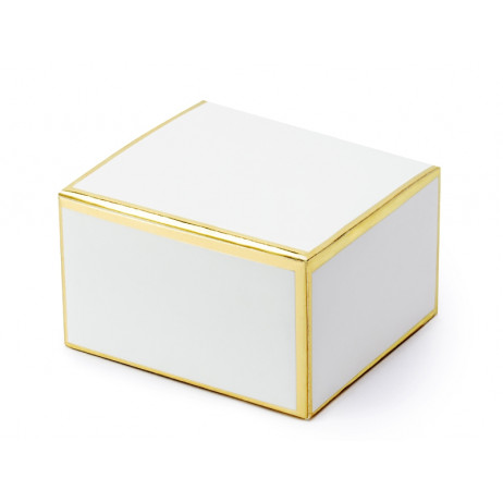 Boite carton blanc or. Lot de 40