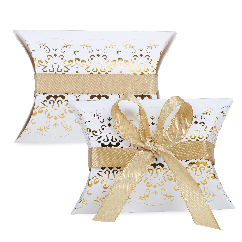 Coussin dragées doré blanc. Lot de 50