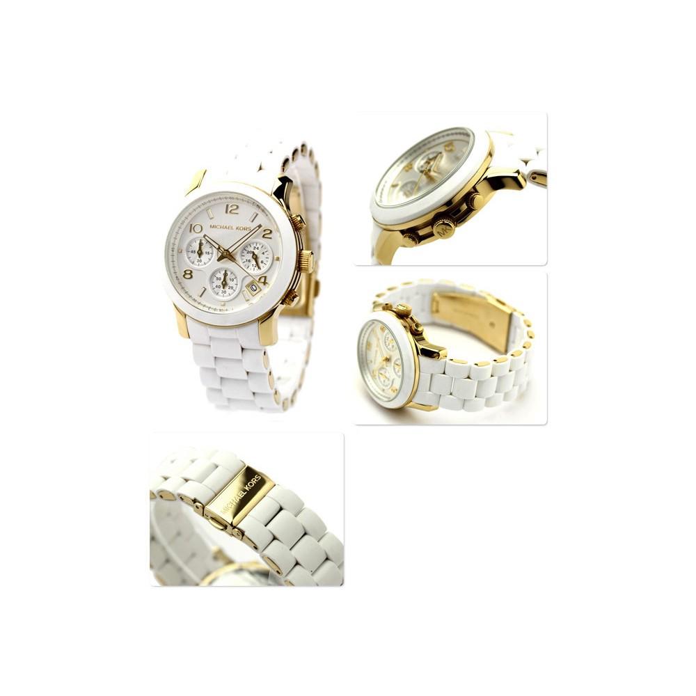 Michael Kors MK5145 Bracelet en caoutchouc doré pour femme avec cadran MOP Montre chronographe