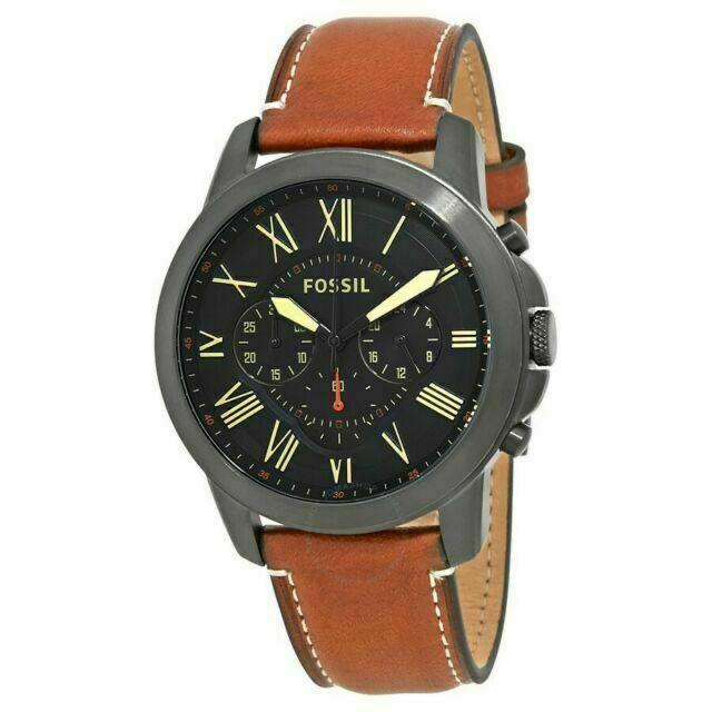 Montre Fossil grant chronographe en cuir pour homme