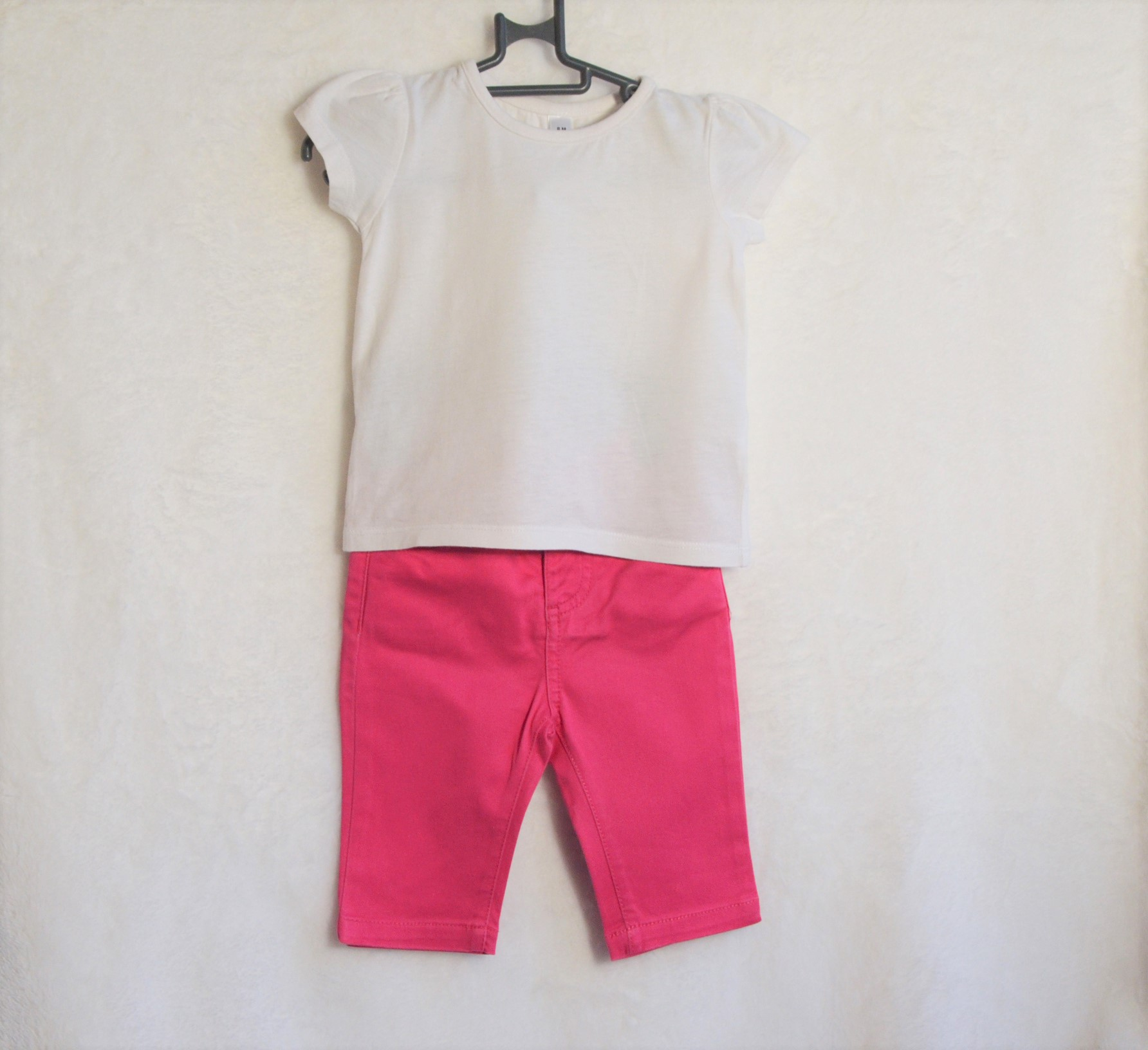 Tenue Tee-shirt Blanc-Pantalon Rose 6M