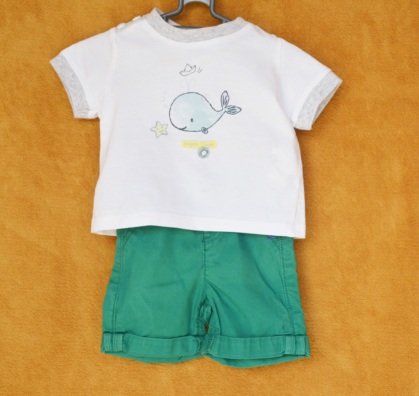 Ensemble Culotte Vert - Tee-shirt Blanc Sergent Major - 3 M