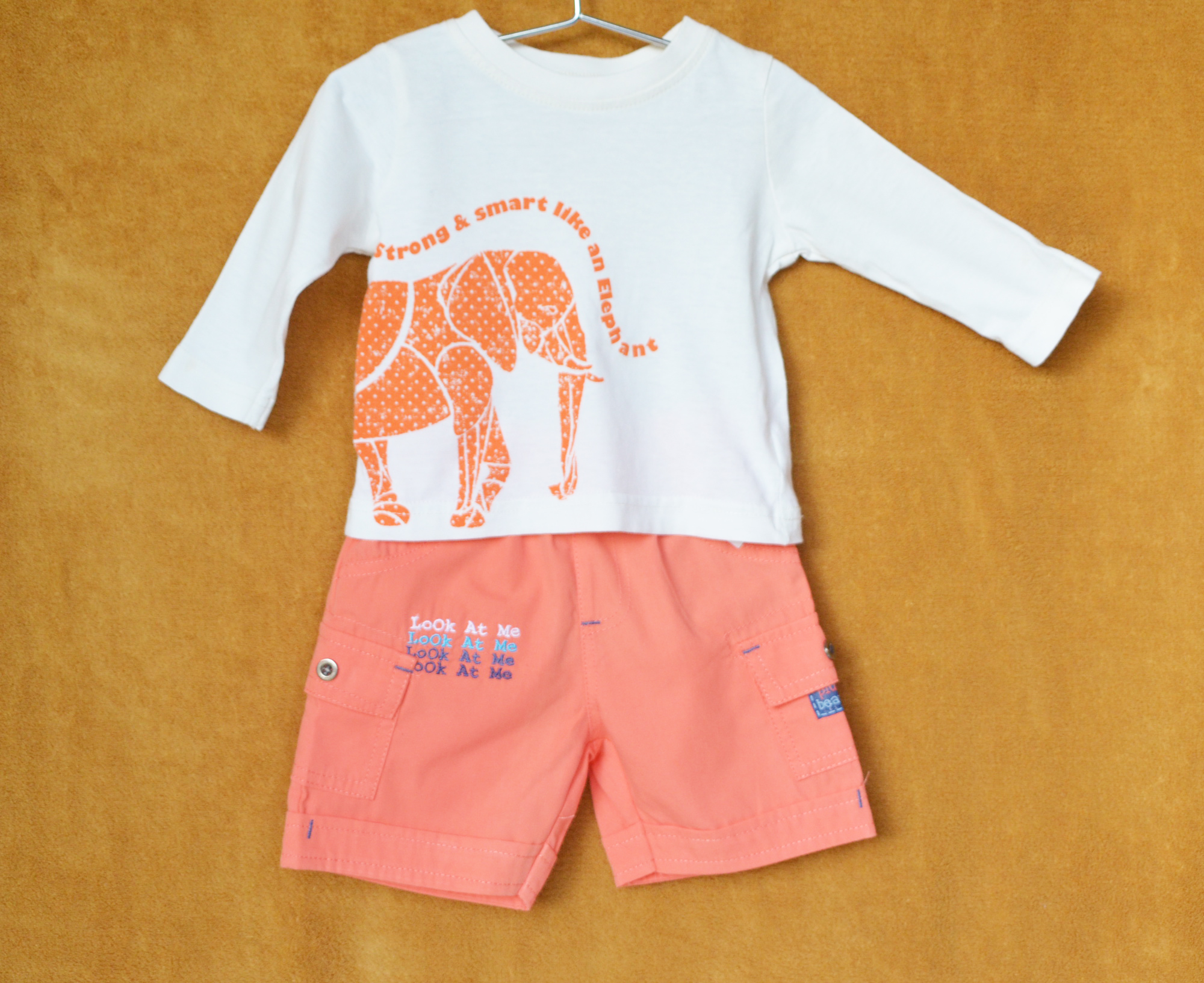 Ensemble Culotte Orange - Tee-shirt Blanc - 3M
