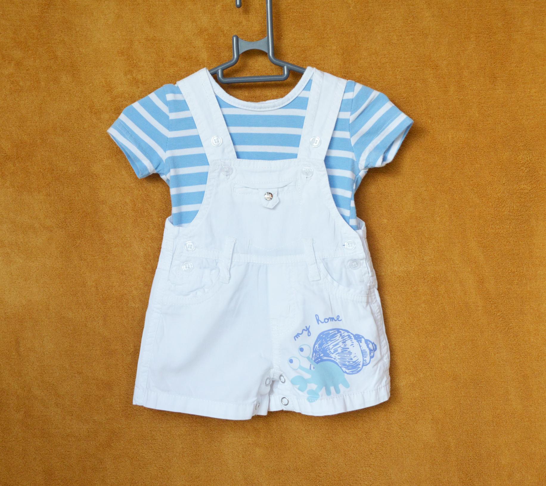 Ensemble Salopette Tee-shirt Bleu à rayure 1 mois - Baby bol