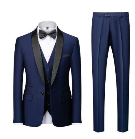 Bloc Col Costumes Veste Pantalon Gilet Homme D'affaires Décontracté