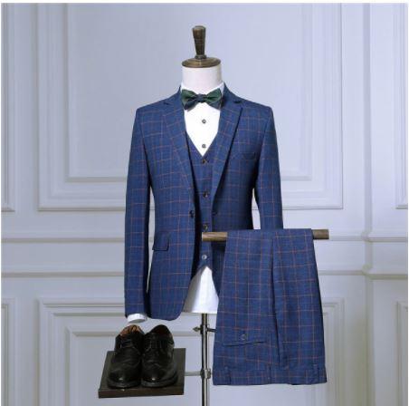 Blazers Pantalon Gilet Ensembles/2021 Printemps Automne Nouvelle Mode Costumes/homme Décontracté À Carreaux D'affaires 3 Pièce Costume Veste Manteau Pantalon