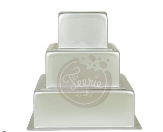 3 moules à gâteaux carrés pour wedding cake, 29 parts - 10, 15, 20 x 7,6 cm
