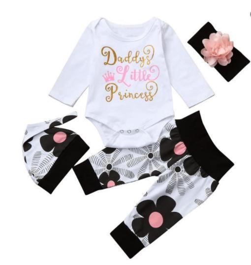 Lettre du nourrisson de bébé nouveau-né Romper Hauts + Pantalons floraux Chapeau 4Pcs Vêtements Set blanc