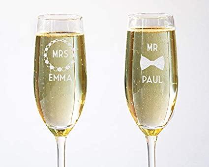 Lot de 2 Flûtes à Champagne Mr. et Mrs. Personnalisables avec Deux Prénoms