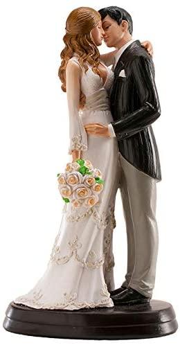 Figurine Mariage 3D Couple Marié se Donnant un Bisou, 18cm