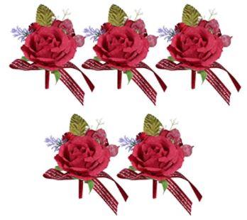 Corsage de Mariage, 5Pcs Wedding Party Decor Simulation Boutonniere Groom and Brides Rose Accessoires de Fleurs de Mariage